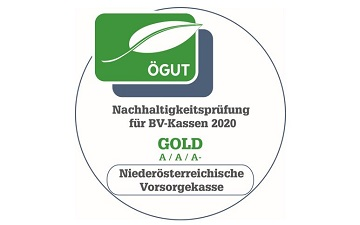 Gezeigt wird das ÖGUT Siegel in Gold für nachhaltige Veranlagung